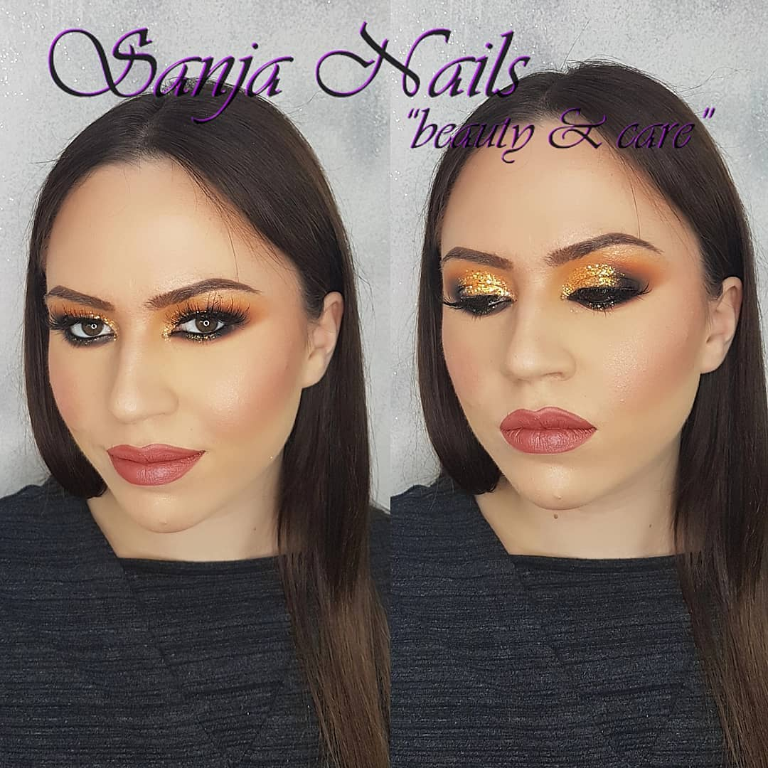 yellow glitter smokey eye