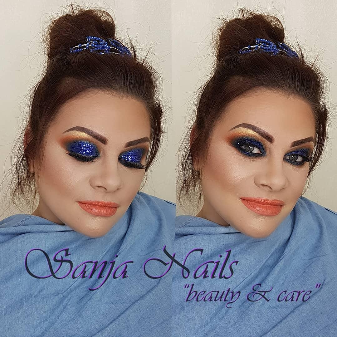 kraljevsko plavi glitter smoky eye